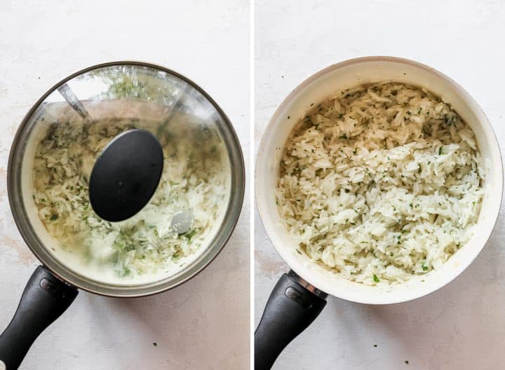 two overhead photos showing How to Make cilantro Lime Rice - covering and cooking rice