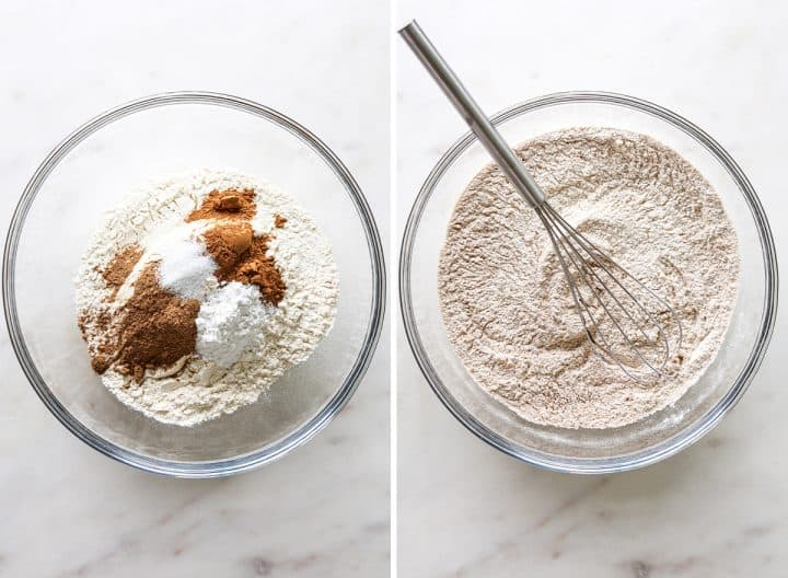 two photos showing How to Make Pumpkin Muffins from Scratch - combining dry ingredients
