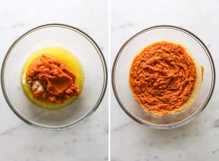 two photos showing How to Make Pumpkin Muffins from Scratch - combining wet ingredients