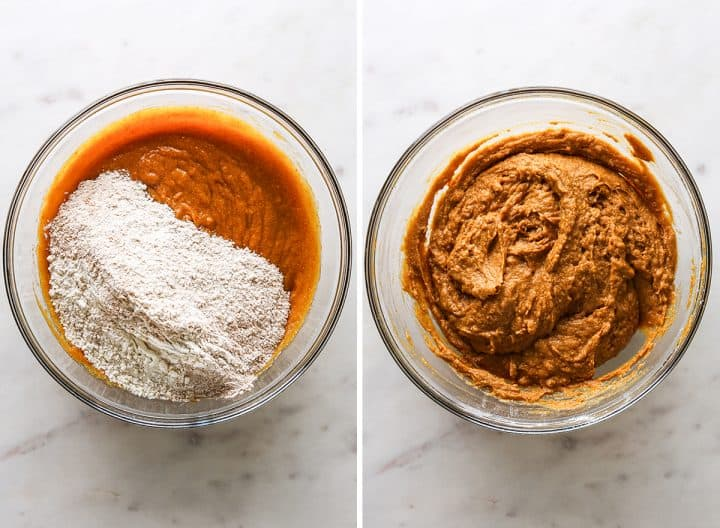 two photos showing How to Make Pumpkin Muffins from Scratch - combining wet and dry ingredients