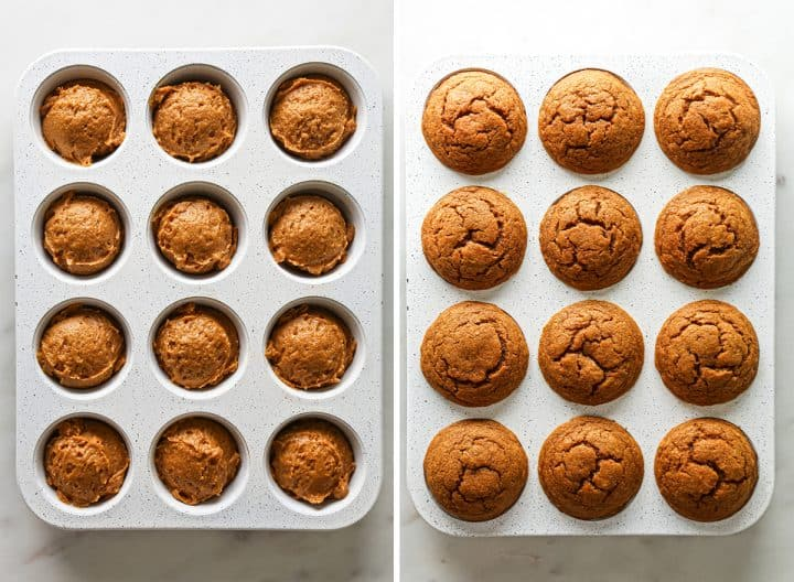 two photos showing How to Make Pumpkin Muffins from Scratch - before and after baking in a muffin tin