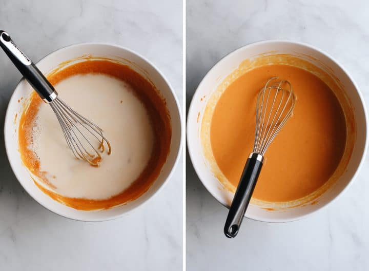 two photos showing How to Make Pumpkin Pancakes - whisking in milk