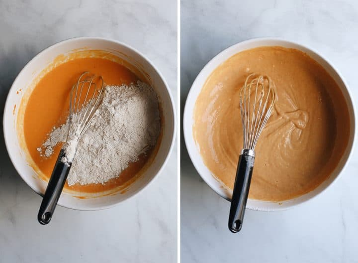 two photos showing How to Make Pumpkin Pancakes - whisking in dry ingredients