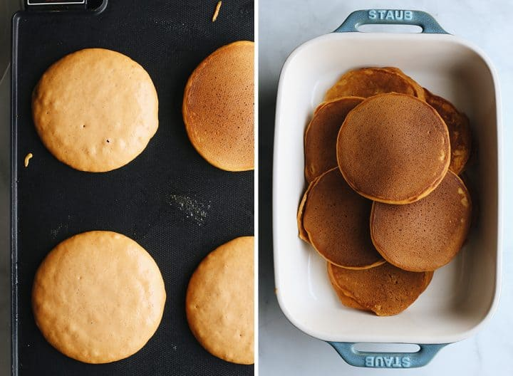 two photos showing How to Make Pumpkin Pancakes - cooking on a griddle