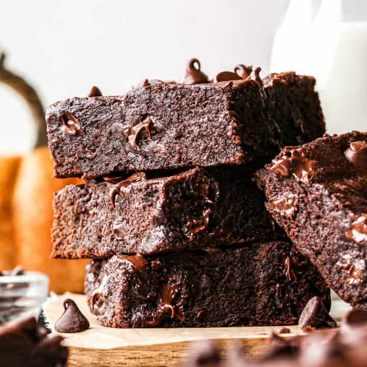 stack of 3 Pumpkin Brownies  with one more leaning against them