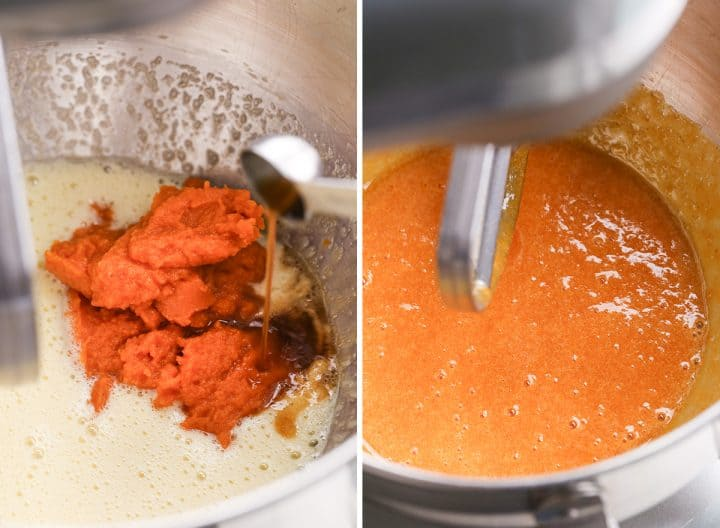 two photos showing How to Make Pumpkin Brownies - adding pumpkin and vanilla