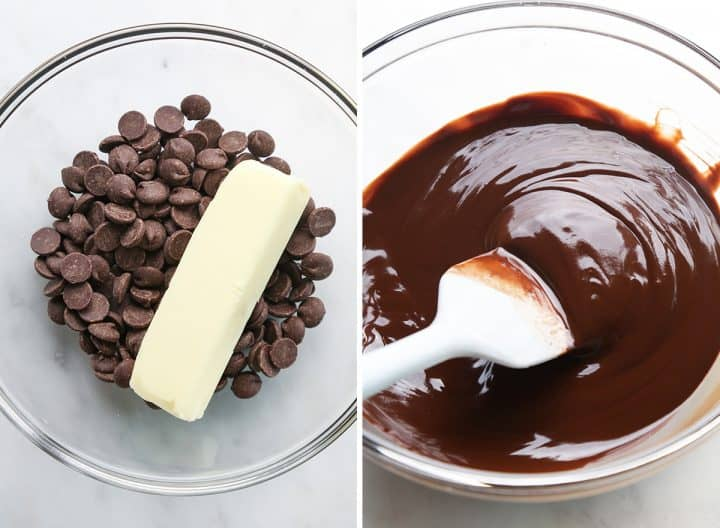 two photos showing How to Make Pumpkin Brownies - melting butter and chocolate.