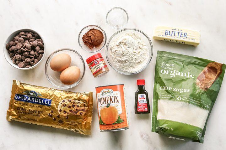 overhead photo of the ingredients in this Pumpkin Brownie recipe