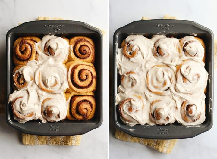 two photos showing How to make Pumpkin Cinnamon Rolls - frosting the rolls in the baking dish.
