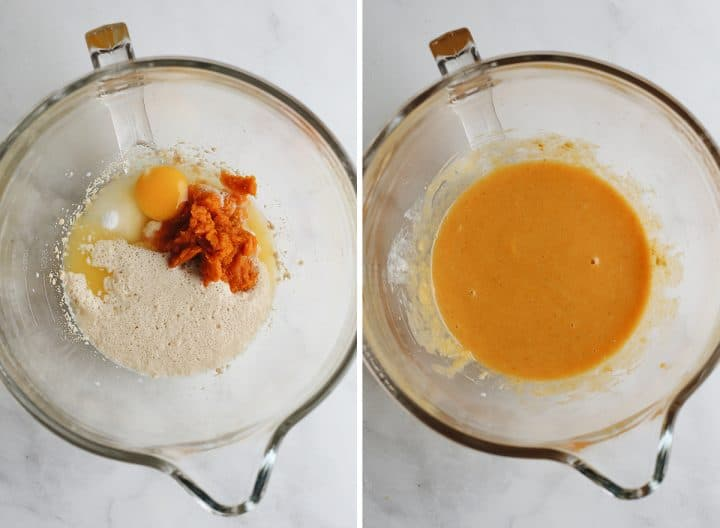 two photos showing How to make Pumpkin Cinnamon Rolls - mixing the wet ingredients together