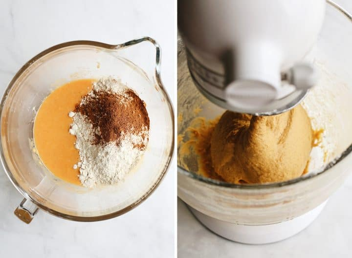 two photos showing How to make Pumpkin Cinnamon Rolls - adding the dry ingredients & making a dough ball