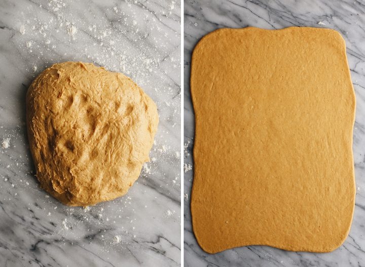 two photos showing How to make Pumpkin Cinnamon Rolls - rolling dough into a large rectangle
