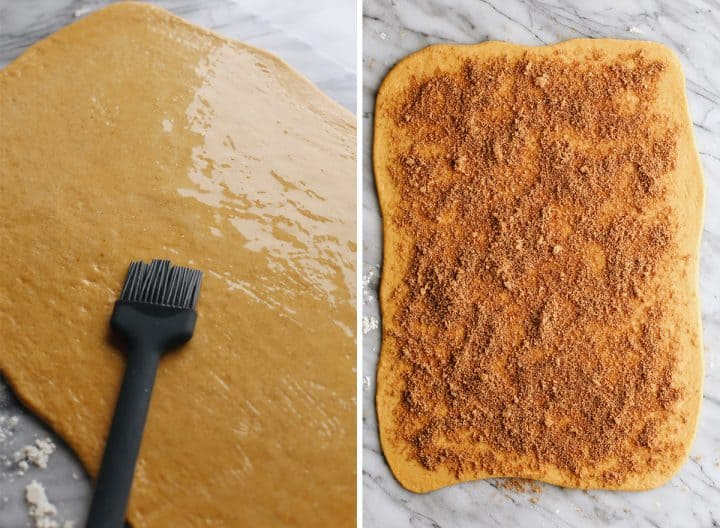 two photos showing How to make Pumpkin Cinnamon Rolls - spreading meted butter and cinnamon sugar on the dough