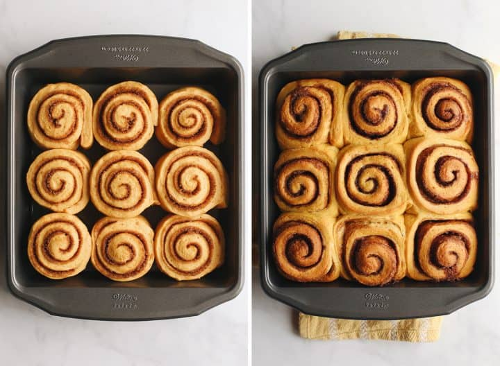 two photos showing How to make Pumpkin Cinnamon Rolls - before and after baking in the baking pan.