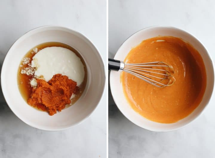 two photos showing how to make pumpkin overnight oats - whisking wet ingredients.