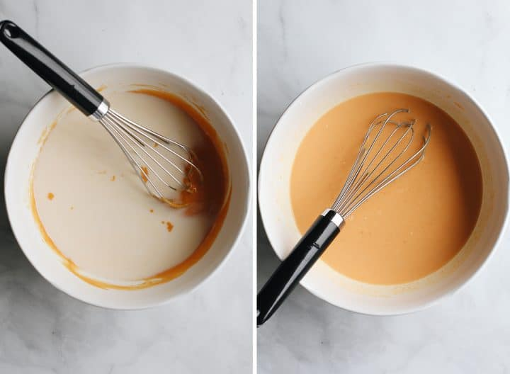 two photos showing how to make pumpkin overnight oats adding milk