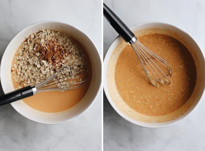 two photos showing how to make pumpkin overnight oats adding dry ingredients