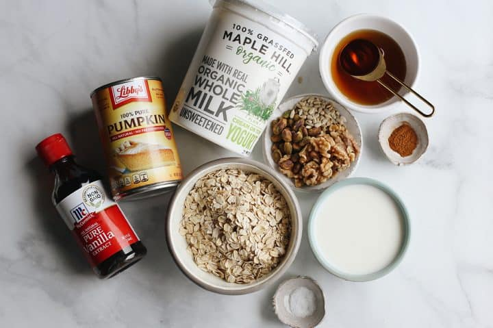 overhead view of the ingredients in this Pumpkin Overnight Oats Recipe
