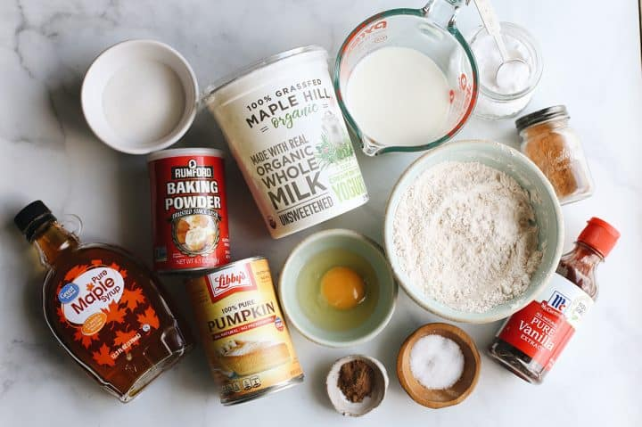 overhead photo of the ingredients in this Pumpkin Pancake recipe