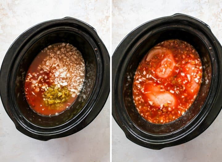 two photos showing how to make slow cooker white chicken chili