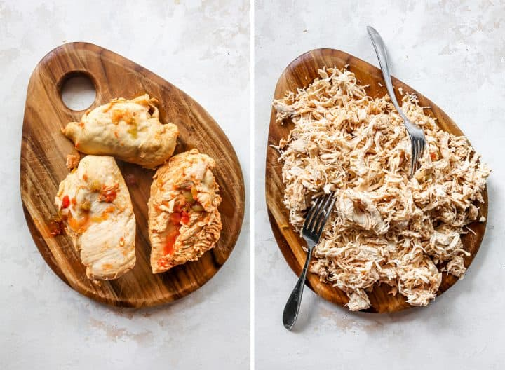 two photos showing how to make slow cooker white chicken chili - shredding the chicken