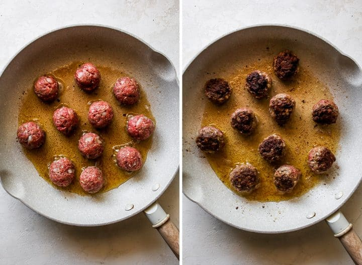 two overhead photos showing How to Make Greek Meatballs in a pan on the stovetop