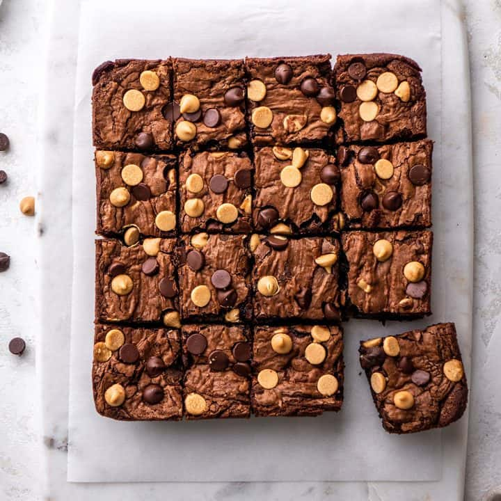 overhead view of Chocolate Peanut Butter Brownies cut into 16 squares