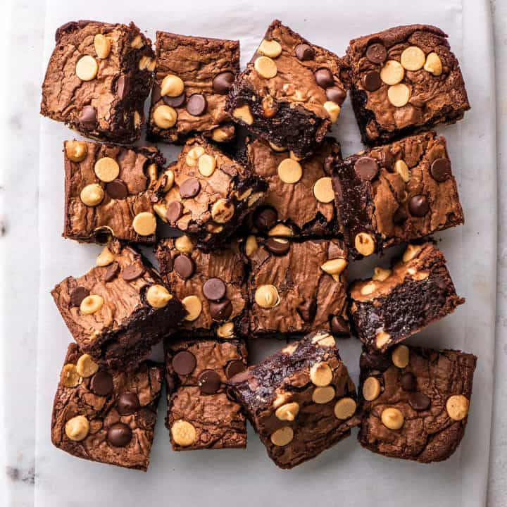 overhead view of 16 Chocolate Peanut Butter Brownies cut into squares