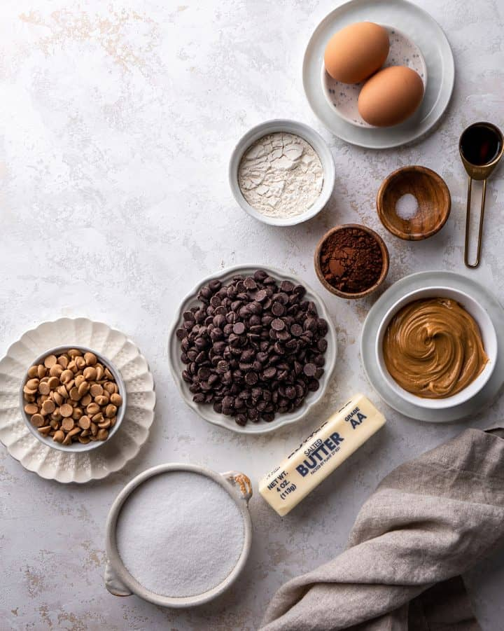 overhead view of the ingredients in this Chocolate Peanut Butter Brownies recipe