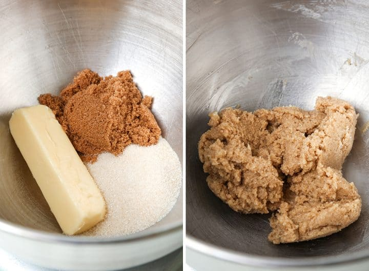 two overhead photos showing how to  make brookies - making the cookie layer