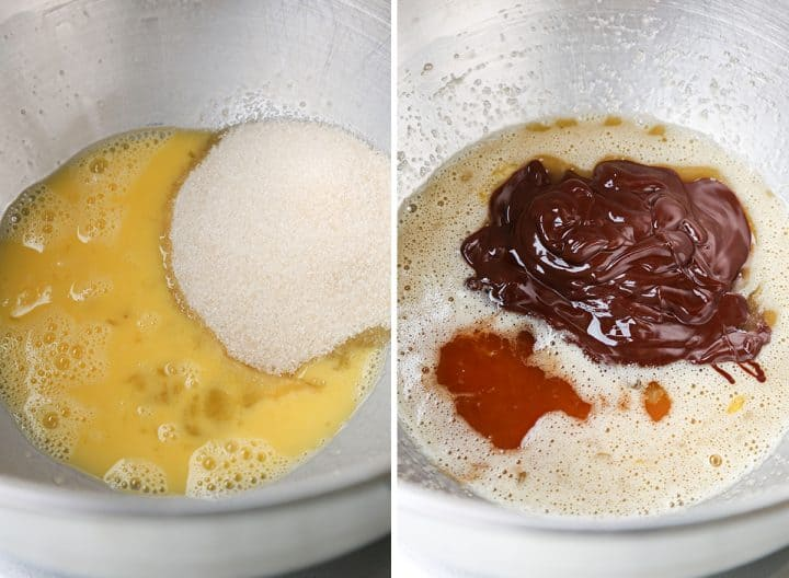 two overhead photos showing how to  make brookies - making the brownie layer