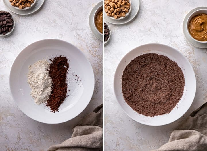 two overhead photos showing How to Make Peanut Butter Brownies - mixing dry ingredients