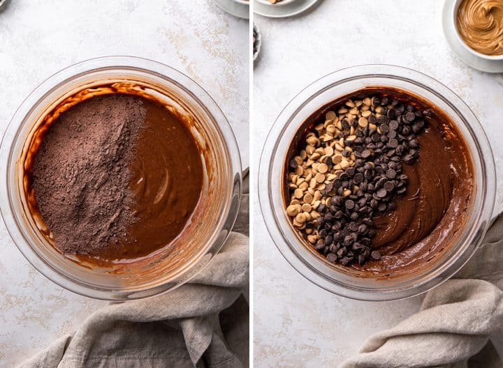 two photos showing How to Make Peanut Butter Brownies - adding dry ingredients then adding peanut butter chips and chocolate chips
