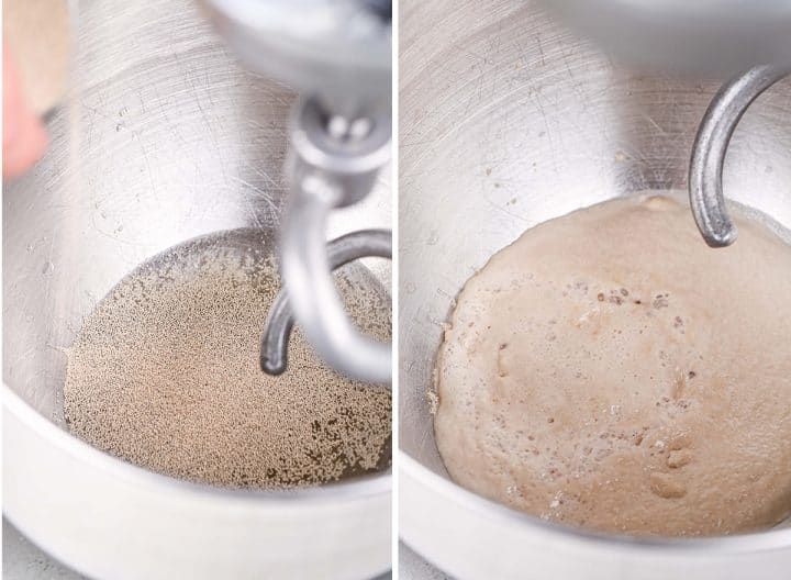 two photos showing How to Make Sandwich Bread - proofing yeast