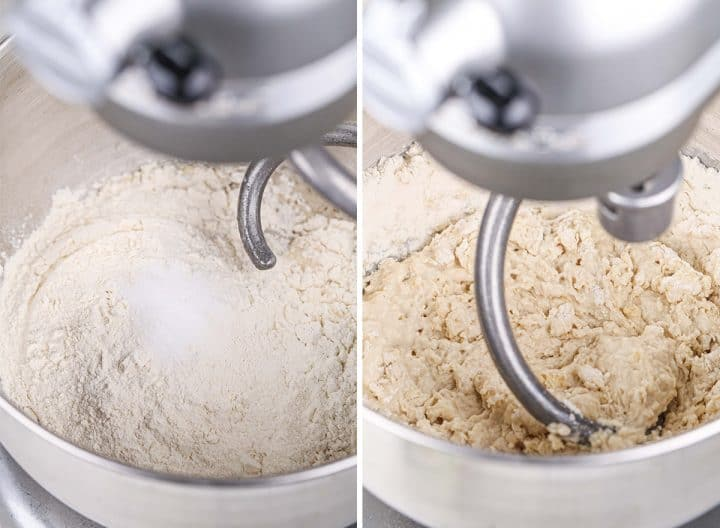 two photos showing How to Make Sandwich Bread - adding flour and mixing