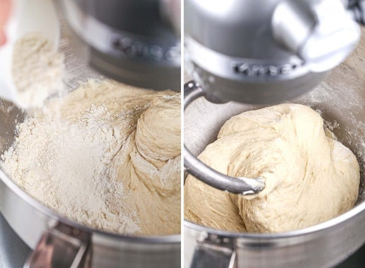 two photos showing How to Make Sandwich Bread - adding more flour & forming a ball