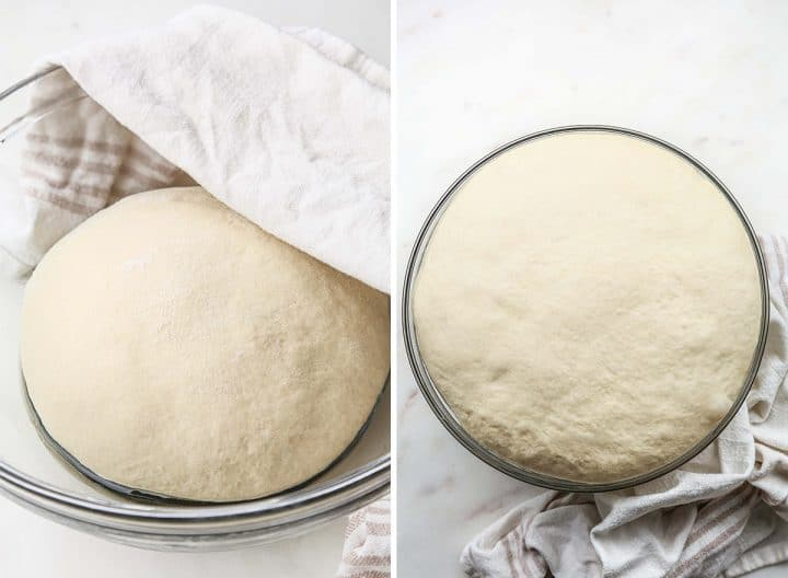 two photos showing How to Make Sandwich Bread - dough in a glass bowl before and after rising.
