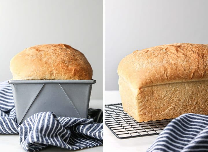 two photos showing How to Make Sandwich Bread - bread in the baking pan and then sitting on a cooling rack