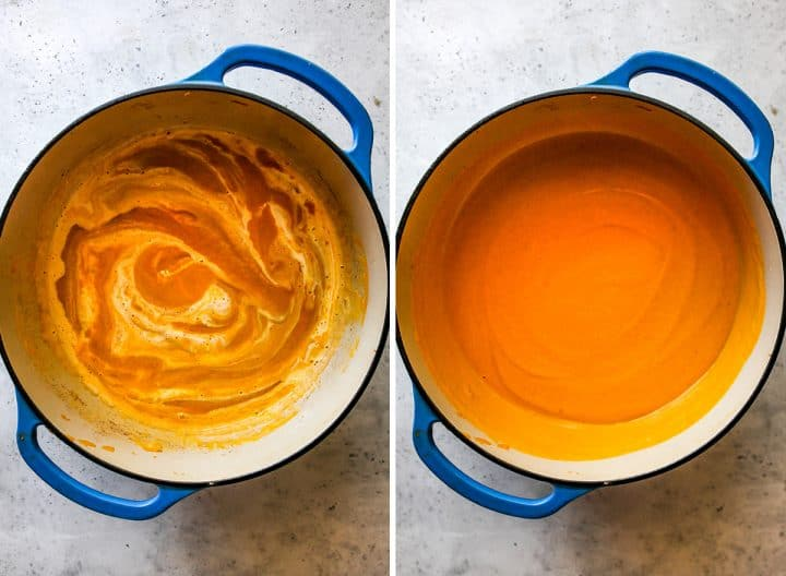 two photos showing How to Make Sweet Potato Soup - stirring in the heavy cream