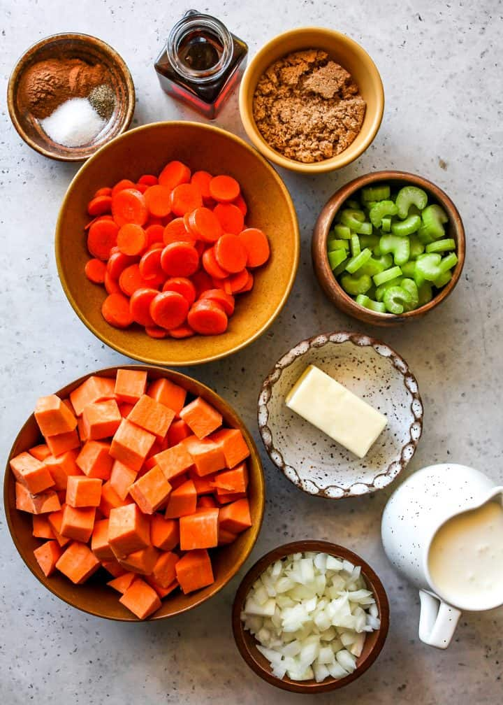 the ingredients in this Sweet Potato Soup recipe